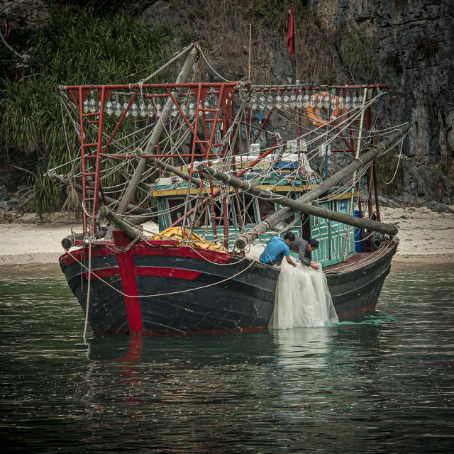 """Squid Boat Preparation"" stock image"