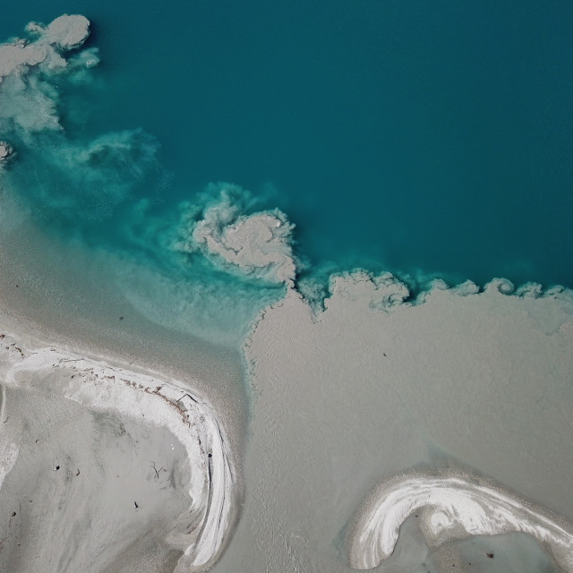 """""""Aerial view river estuary and muddy water"""" stock image"""