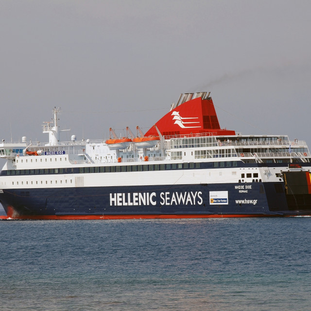 """Nissos Chios ferry, Rhodes island"" stock image"