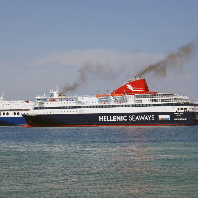 """""""Nissos Chios ferry, Rhodes"""" stock image"""