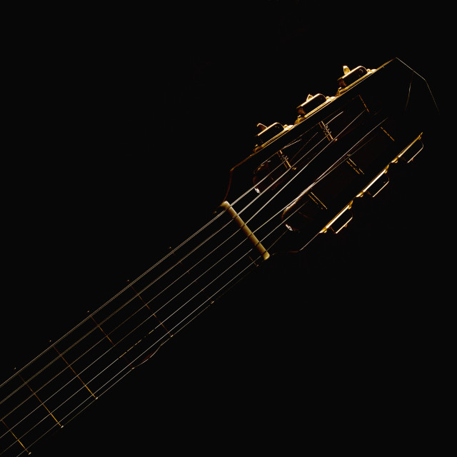"""Gypsy Acoustic Guitar Neck"" stock image"