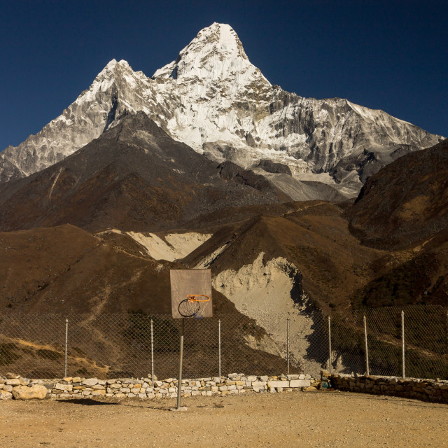 """""""Extreme, high altitude backboard with Ama Dablam as the backdrop"""" stock image"""