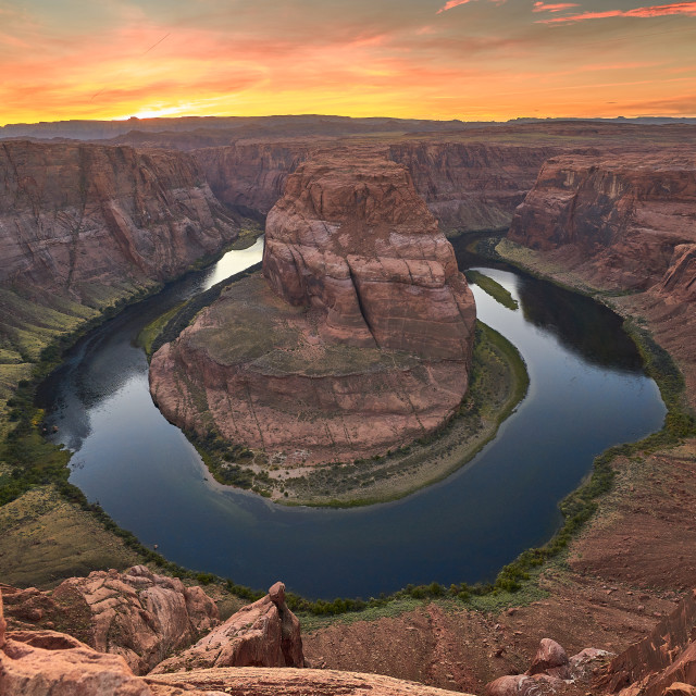 """Red Sunset at Horseshoe Bend"" stock image"