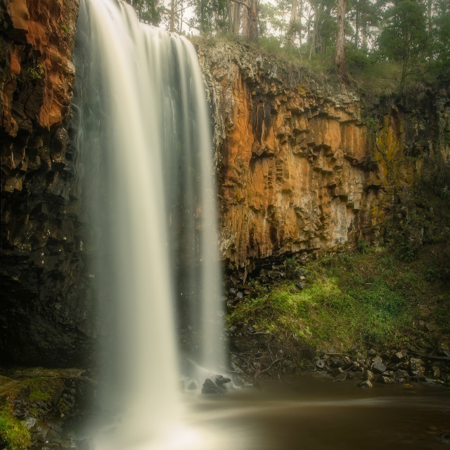 """""""Trentham Falls, one of the longest single drop waterfalls in Victoria, plunging some 32 Metres over ancient basalt columns."""" stock image"""