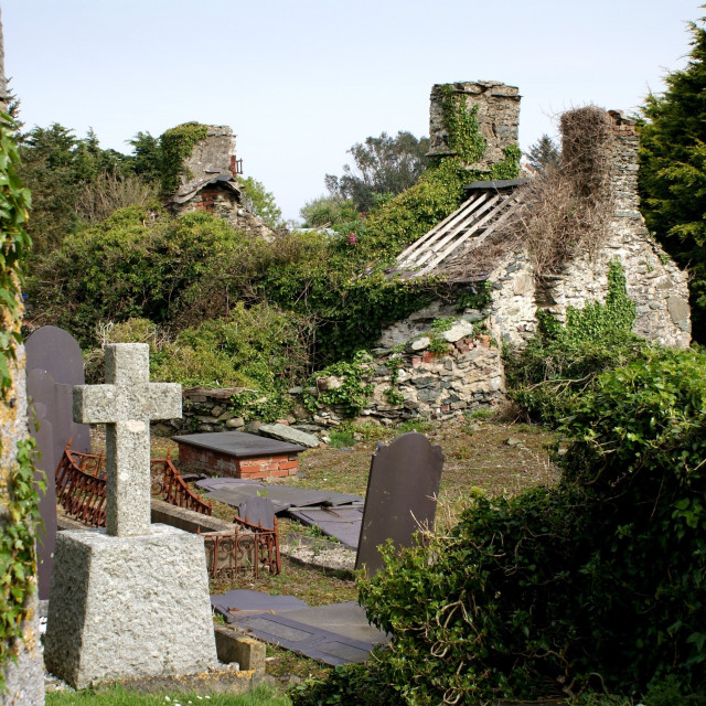 """Derelict house and graveyard"" stock image"