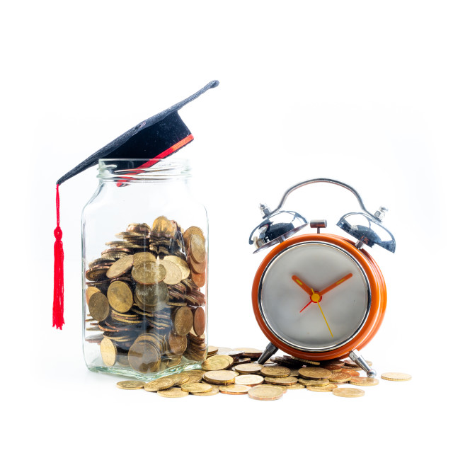 """""""Savings for Education Concept. On Isolated white background."""" stock image"""