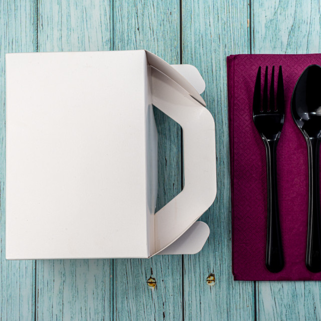 """""""White Cardboard Fast Food Box, Packaging For Lunch on wooden table. with..."""" stock image"""