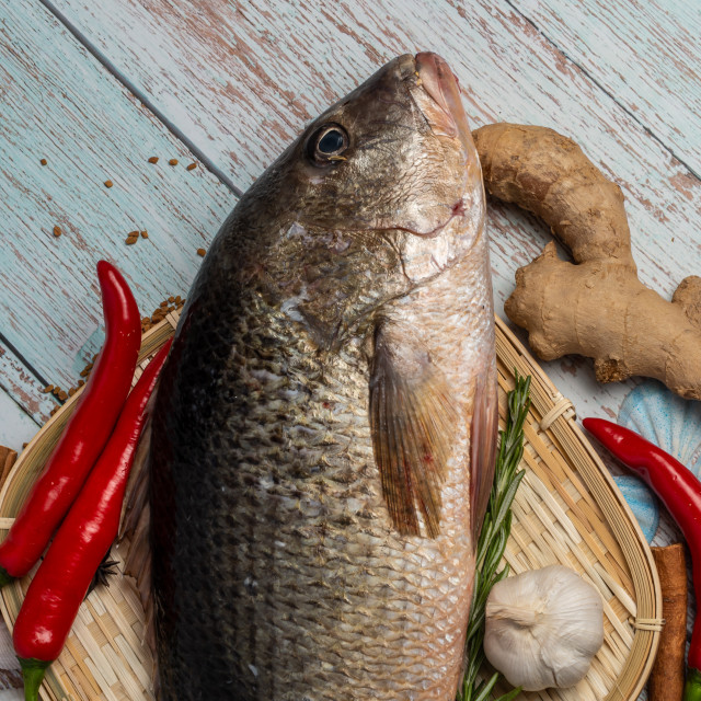 """""""Fresh Golden Snapper on rattan plate, Surrounded by spices and raw ingredients"""" stock image"""