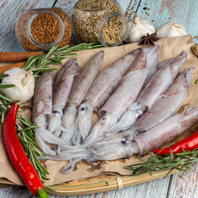 """""""Fresh Raw Squids surrounded by spices and ingredient on a wooden table"""" stock image"""