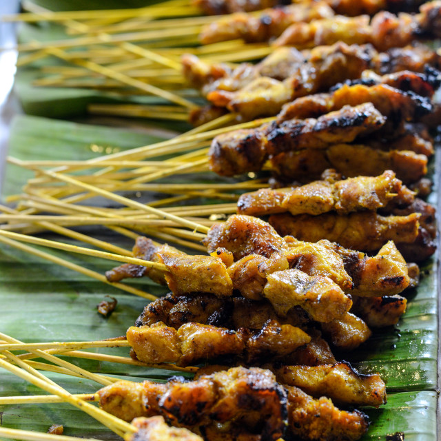 """Chicken Satay. Shallow depth of field."" stock image"
