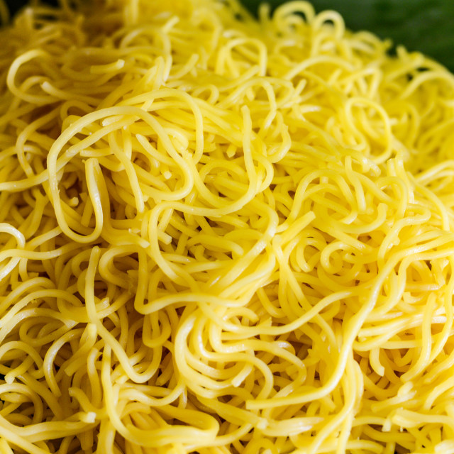"""Yellow Noodles. Shallow depth of field."" stock image"