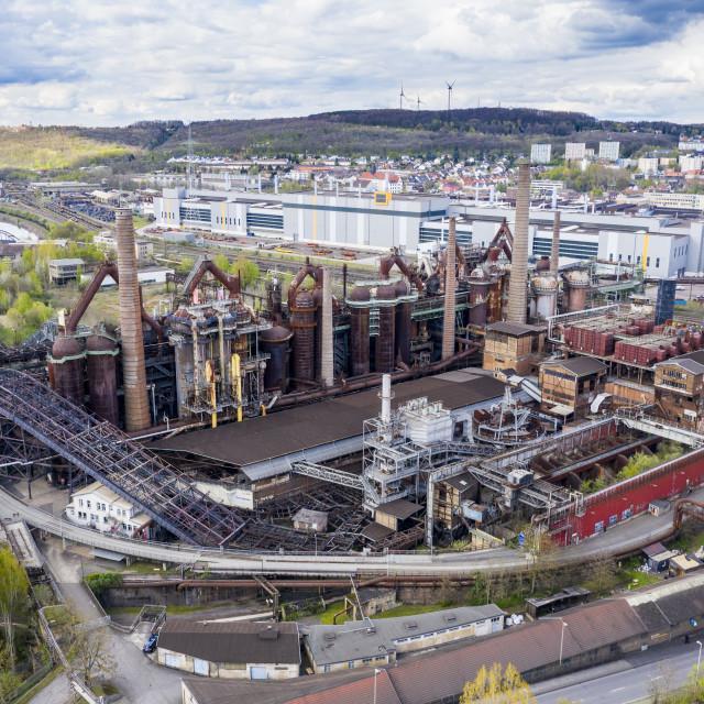 """""""Overlook over the Unesco world heritage sight Voelklingen Ironworks,..."""" stock image"""