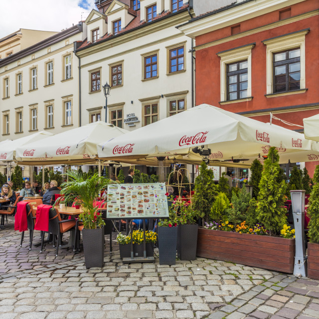 """A cafe scene in Kazmierz, the historical former Jewish District in Krakow,..."" stock image"