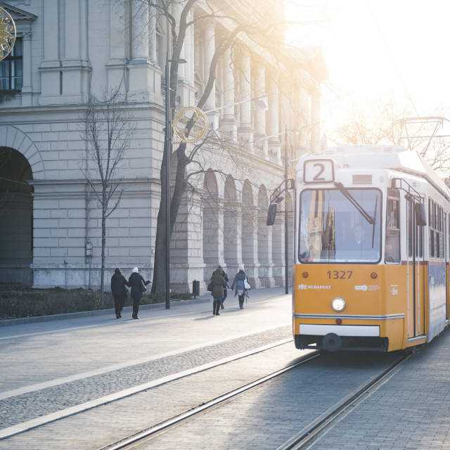 """Tram, the main transport system in Budapest, Hungary"" stock image"
