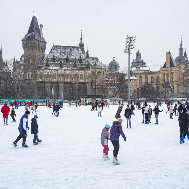 """Budapest Outdoor Ice Rink in Varosliget (Vajdahunyad Castle in the..."" stock image"