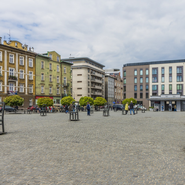 """Heroes Square in the former historical Jewish ghetto in Podgorze, Krakow,..."" stock image"