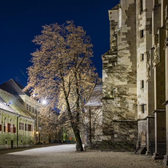 """Black Lutheran Church in Brasov at night, Brasov County, Romania"" stock image"