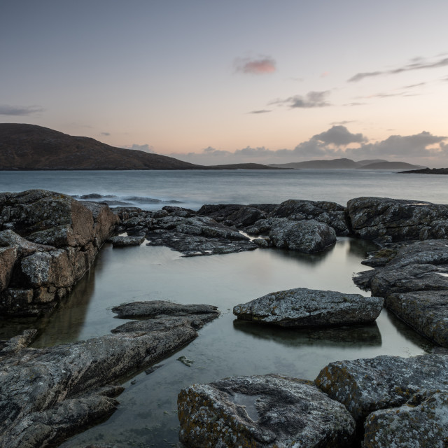 """Bagh a Deas (South Beach), Vatersay, Outer Hebrides, Scotland. Sunset...."" stock image"