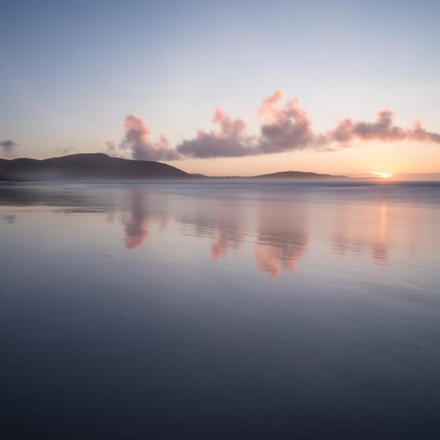 """Sunset at Traigh Eais, Barra, Outer Hebrides, Scotland."" stock image"