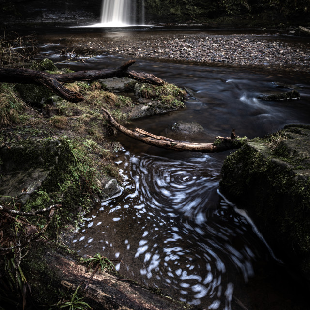 """Sgwd Gwladus waterfall, Pontneddfechan, Wales. Waterfall country. Brecon..."" stock image"