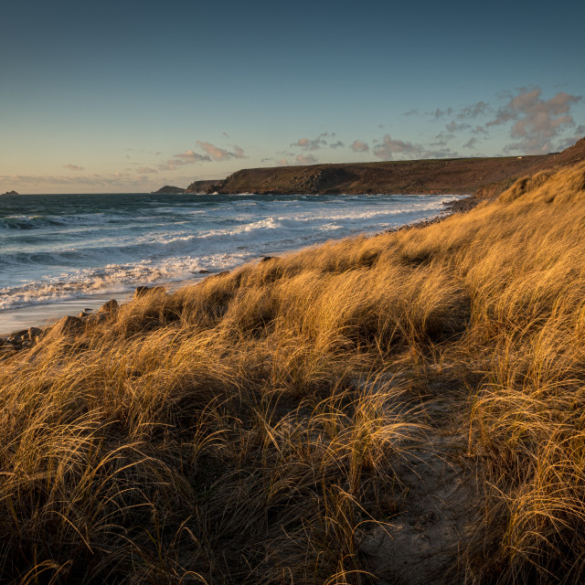 """Sennen Beach, Sennen, Cornwall. Brissons and Cape Cornwall far distance. Late..."" stock image"