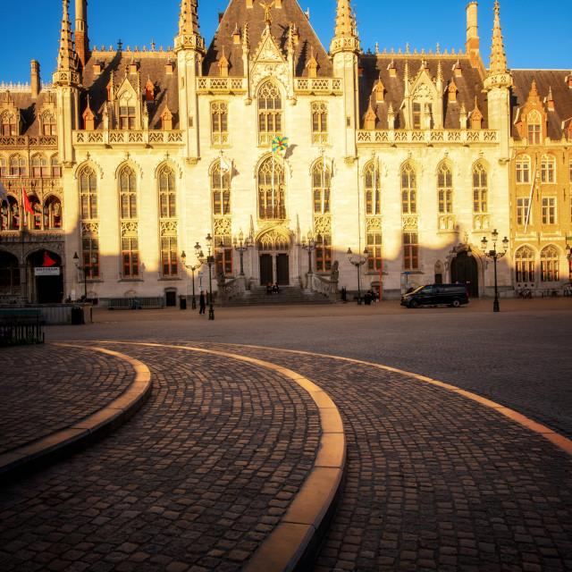 """""""Provinciaal Hof (Province Court) on Markt square, Bruges (Brugge), West..."""" stock image"""