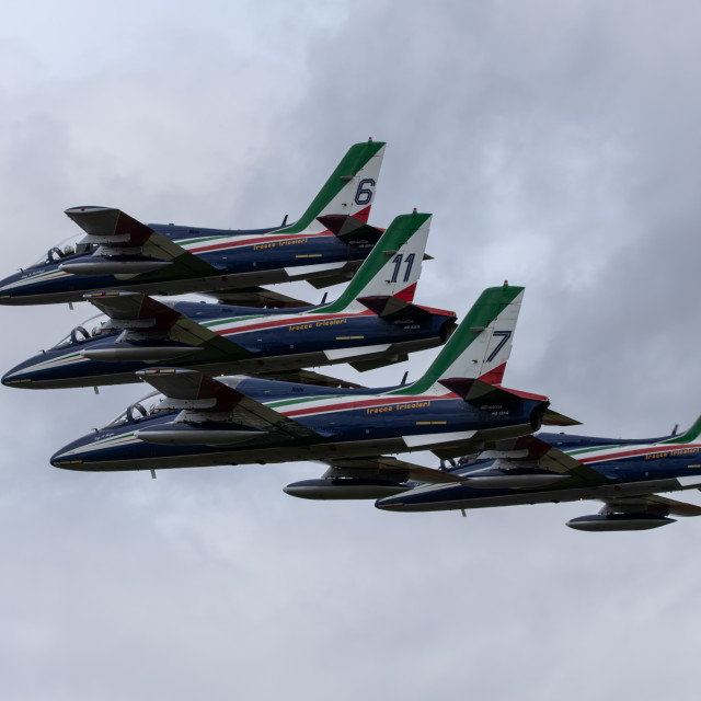 """Four aircraft from the Frecce Tricolori"" stock image"