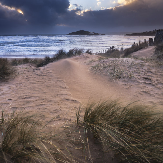 """The beach at Bantham during a storm, near Kingsbridge, Devon, UK"" stock image"