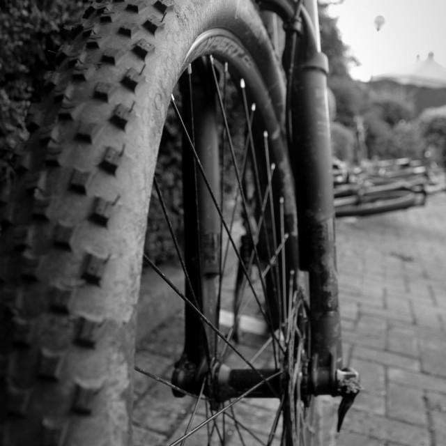 """Black & White Mountain Bike Tyre"" stock image"