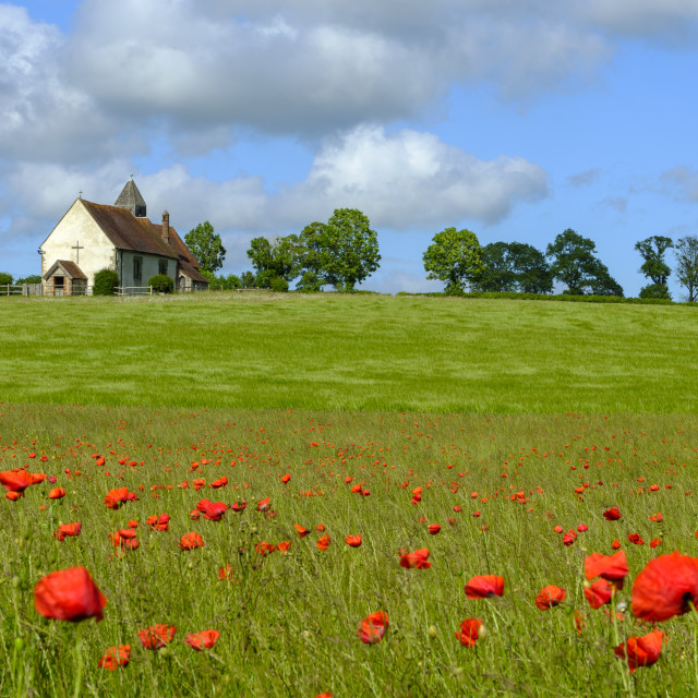 """""""St Hubert's Church, Idsworth in the South Downs National Park, H"""" stock image"""