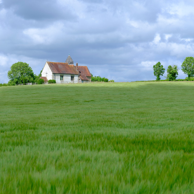 """St Hubert's Church, Idsworth in the South Downs National Park, H"" stock image"