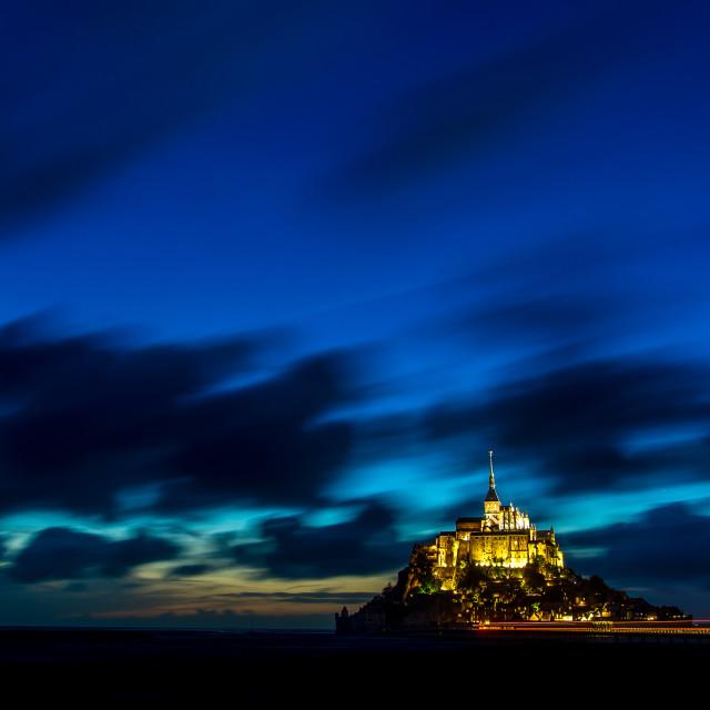 """""""Mont Saint Michel at blue hour"""" stock image"""
