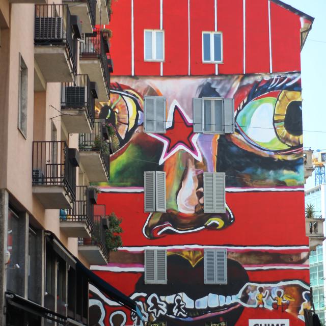 """Red building - Corso Garibaldi"" stock image"