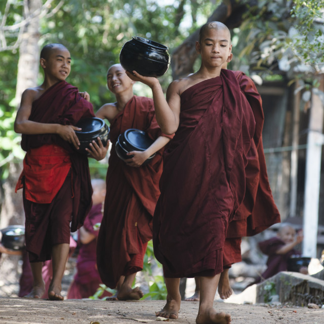 """February 23, 2014 - Yangon, Myanmar: Monks Going for Lunch at Ka"" stock image"