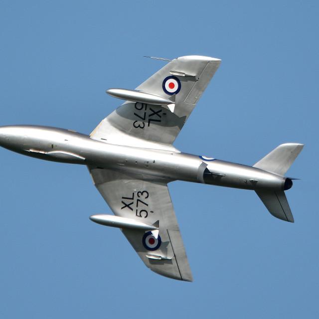"""Hawker Hunter T7 G-BVGH XL573 at Aldergrove iii"" stock image"