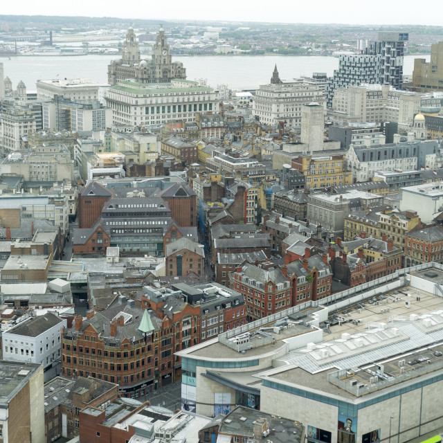 """Aerial skyline view of Liverpool city centre"" stock image"