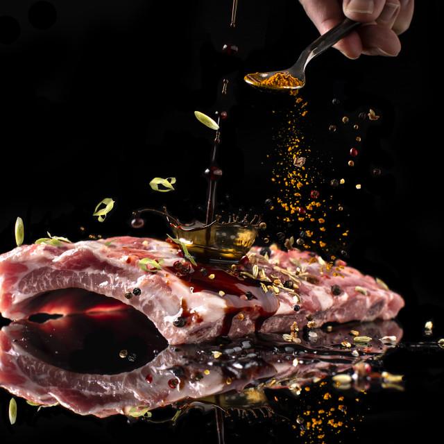 """marinating meats"" stock image"