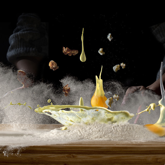 """""""food in motion - making a dough"""" stock image"""