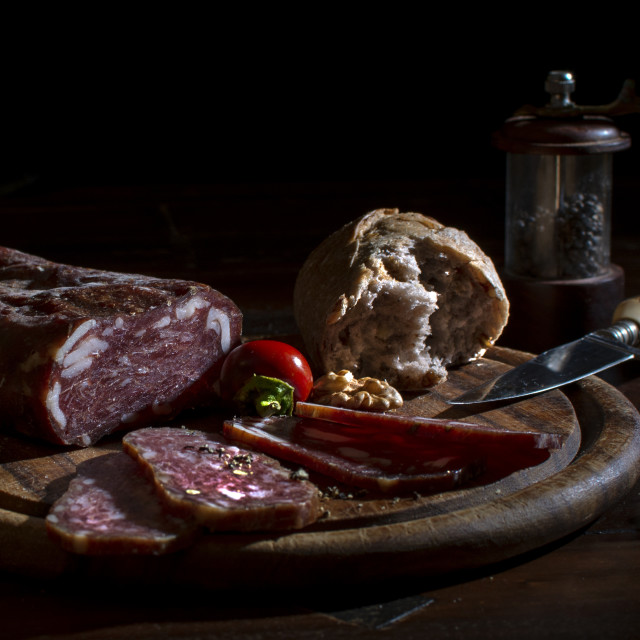 """""""Breadtime with salami and cheese"""" stock image"""