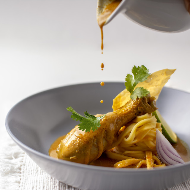 """""""cooking thai chicken curry"""" stock image"""