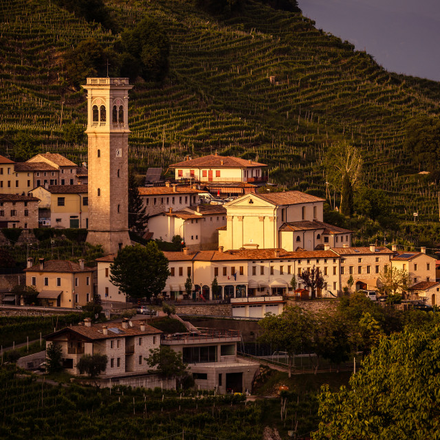 """Prosecco region, Sunset in Santo Stefano"" stock image"