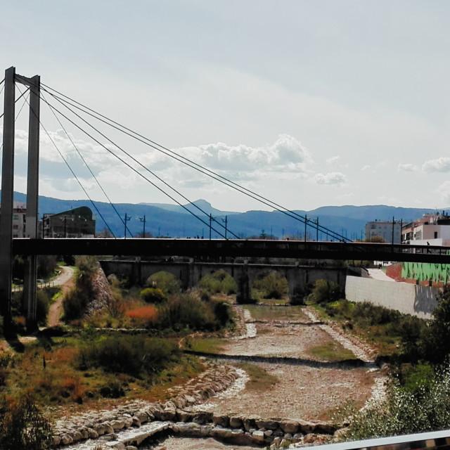 """""""Gandia's Suspension Bridge Over The River Serpis"""" stock image"""