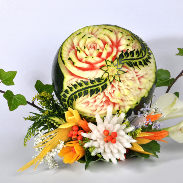 """""""carved fruits and vegetables"""" stock image"""
