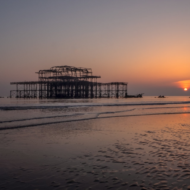 """West Pier sunset"" stock image"
