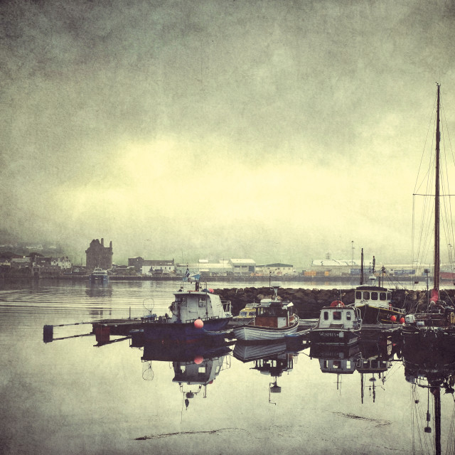 """Misty Morning In Scalloway, Shetland."" stock image"