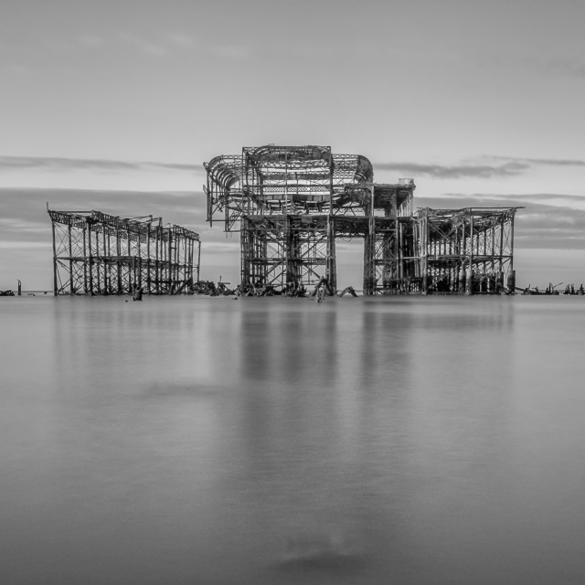 """West Pier reflections"" stock image"