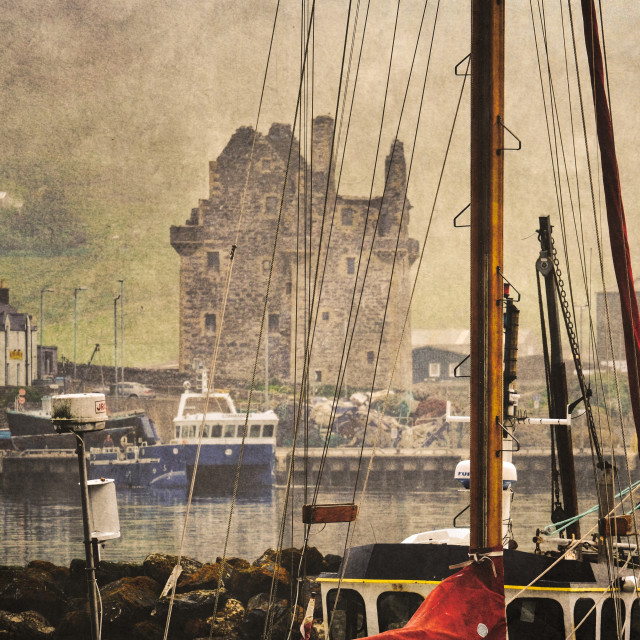 """Scalloway Castle Behind Yacht Rigging"" stock image"