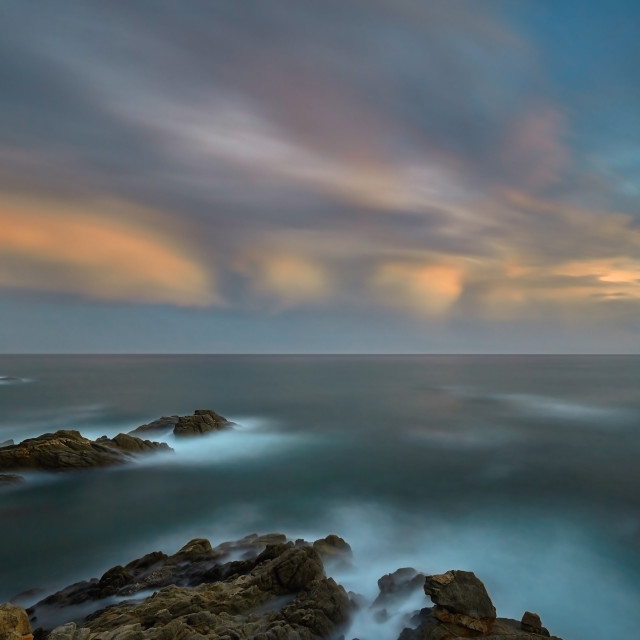 """""""Beautiful sunset light in Costa Brava of Spain, near town Palamos, long exposure picture"""" stock image"""