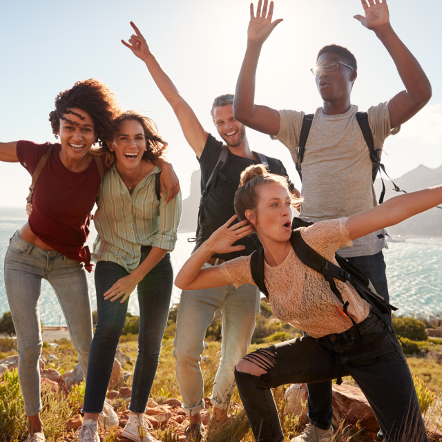 """Millennial friends on a hiking trip celebrate reaching the summit and have..."" stock image"