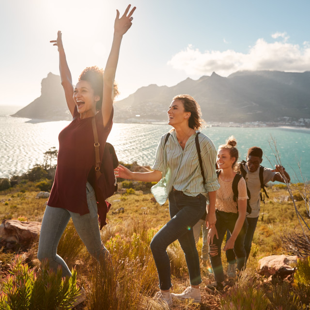"""Young adult friends hiking single file uphill celebrate reaching a summit,..."" stock image"